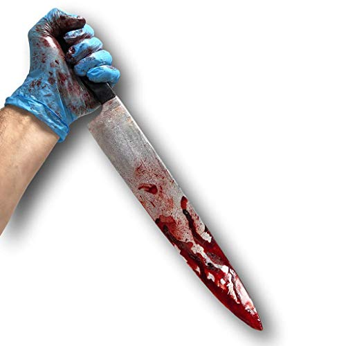 Rubber Johnnies Blut bedeckt Küchenmesser, Halloween Film / Theater Rolle Spielen LARP Kostüm Prop Zubehör