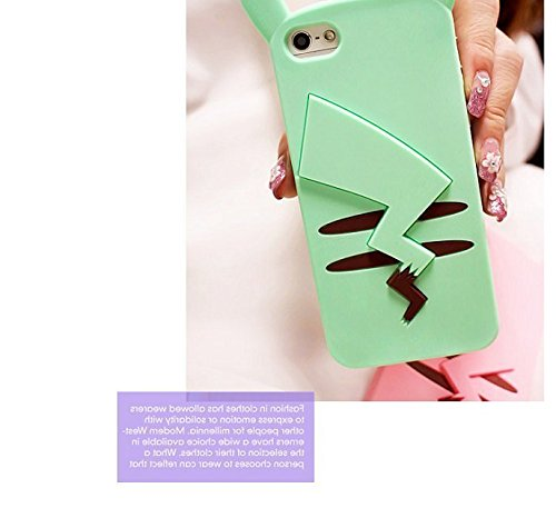 Coque iPhone 6 Plus/6S Plus, iNenk® Le plus récent téléphoneDessin animé Sets de téléphone de silicone Fashion Housse de protection souple TPU Mignon Mignon Tide Cover-Rose vert