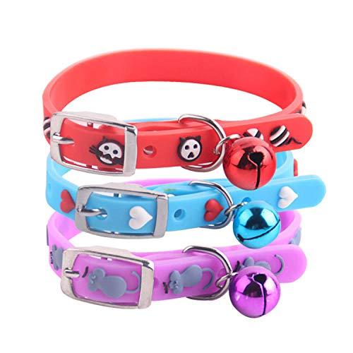 RXQCAOXIA Weiches Lederhalsband, klein, mit Glocke, verstellbare Halsbänder für HundeZufällige Farbe@Zufällige Farbe_18-25
