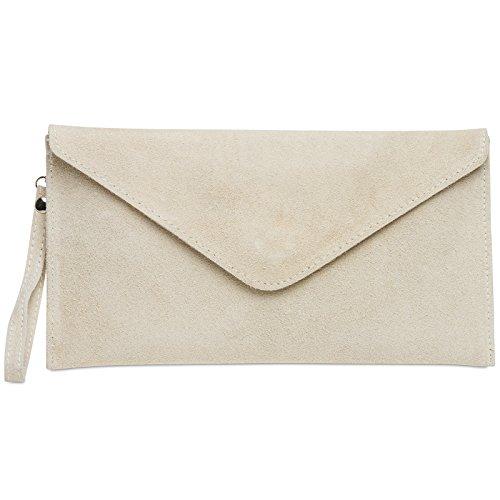 CASPAR TL708 Damen Velours Wildleder Envelope Clutch Tasche Abendtasche mit Handschlaufe, Farbe:beige;Größe:One Size -