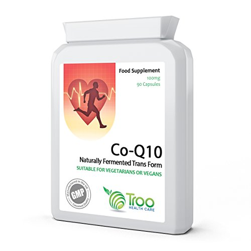 41xEL9cXllL. SS500  - Co-Enzyme Q10 Supplement (CoQ10) - 100 milligrams 90 Vegetarian Capsules - Naturally Fermented Trans Form for High Absorption - UK Manufactured to GMP Standards