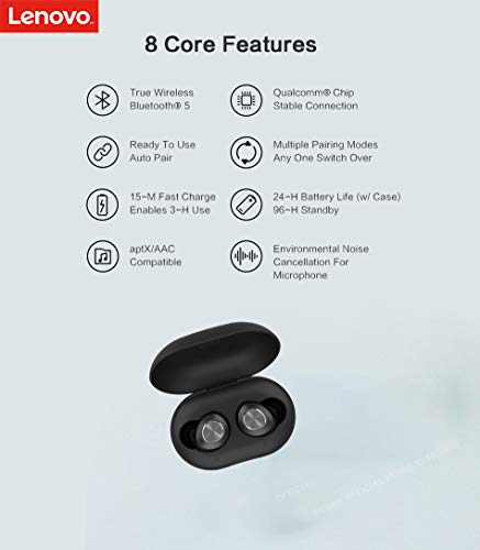 Lenovo HT10 True Wireless Earbuds Earphones Headphones (Bluetooth V5.0) in-Built Mic with Extra HD Sound AirBassRated IPX5 Waterproof and Sweatproof (Black) Image 3