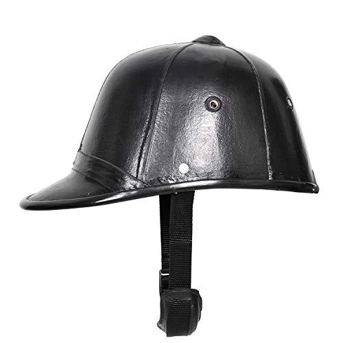 Bulaqi Leder-Reithelm Polo Cap in schwarz - für Damen und Herren - Faser, 22 Zoll