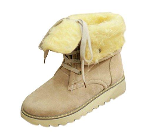 Minetom Damen Stiefeletten Matte Stiefel Schnee Winter Fur Boots Winterstiefel Warm Casual Flats Bequeme Boots Beige