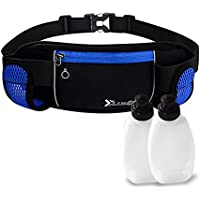 Nylon Waterproof Running Belt with Water Bottle Holder and 2 Water Bottles, Sport Bum Bag Cycling Waist Bag for Man and Woman Fitness Belt, Run waist bag
