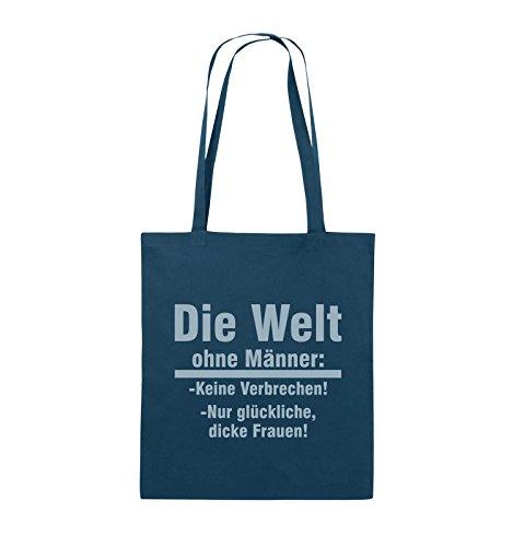 Comedy Bags - Die Welt ohne Männer - keine Verbrechen nur dicke Frauen - Jutebeutel - lange Henkel - 38x42cm - Farbe: Schwarz / Pink Navy / Eisblau