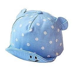 Creamon Cute Dot Baby Mützen, Cute Dot Baby Mützen Mädchen Jungen Sonnenhut mit Ohr für Frühling Sommer Neugeborene Fotografie Requisiten Hellblau