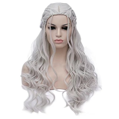 COSPLAZA Perücke Women Long Wavy Curly Heat Resistant Synthetic Hair Comic Cons Cosplay Wigs Braids (Con Einfach Comic Kostüme)