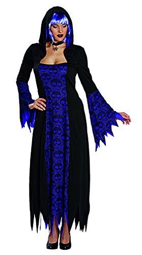 NEU Damen-Kostüm Totenkopf Gewand schw-lila Gr. (Kostüme Happy Gruselig Halloween)