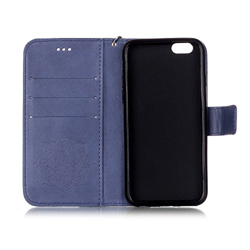 iPhone 6s Plus Hülle Traumfänger, LuckyW Einfarbig Traumfänger Mandala Muster Pattern PU Leder Hülle für Apple iPhone 6 Plus/6S Plus(5.5 zoll) TPU Soft Rückseite Abdeckung Ledertasche Brieftasche Flip Blau