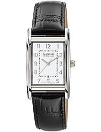 Dugena Damen-Armbanduhr Quadra Artdeco - Traditional Classic Analog Quarz Leder 7000123