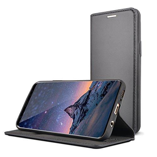 EMPIRE & TAYLOR Galaxy S9 Echt Ledertasche Mit Kartenfach Kabelloses Laden Qi Edles Dünnes Leder Hülle Tasche Für Das Samsung Galaxy S9 Schwarz (Hinzufügen Leder)