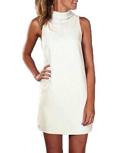 ZANZEA Femmes Mode Mini Robe Soirée Col Roulé Sans Manches Plaine Dress Décontracté Tops Beige