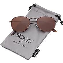 SOJOS Retro Vintage Specchio Lenti Poligono Protezione UV Occhiali da Sole SJ1072
