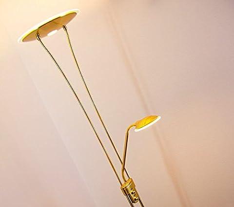 Lampadaire variateur LED Marana - Luminaire laiton pour salon avec éclairage indirect et lampe de lecture orientable - Eclairage puissant de teinte blanc chaud - Design contemporain