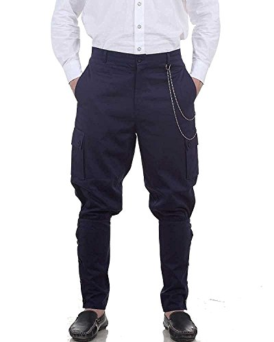 ThePirateDressing Steampunk Victorian Gothic Punk Vampire Canvas Airship Pants Costume C1347 [Blue] [Small] steampunk buy now online