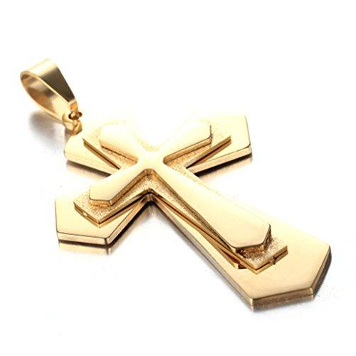 Beydodo Schmuck Hip Hop Titan Herren Kette mit Anhänger 3 Schichten Kreuz Halskette Gold für Männer Partnerkette
