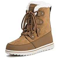 Womens Quilted Short Snow Winter Faux Fur Warm Durable Waterproof Boots - 6 - TAN39 AYC0522