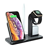 4 In 1 Wireless Charger Stand For Apple Watch AirPods Apple Pencil Cell Phone, Layopo 10W Wireless Charging Station, Compatible IPhone Xs Max, Fast-Charging Galaxy S10 And More