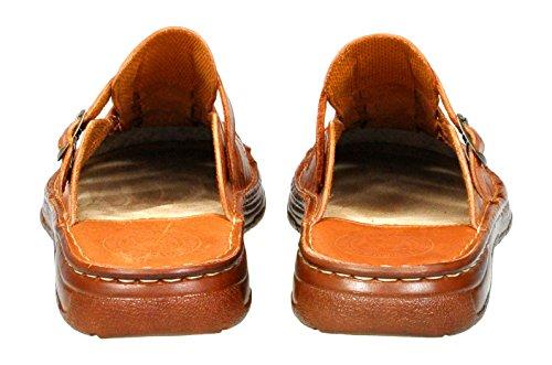 Une Forme Orthopedique Chaussures Confortable En Cuir De Bison Sandales Pour Homme Modele 860 Cognac