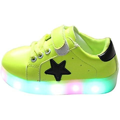 YHNEW Llevó Zapatos Cabritos Aire Libre Que Brillaban Intensamente Zapatilla Deporte Niños Shoes Verde