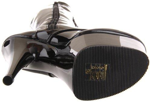 Pleaser Damen Adore-2023 Kurzschaft Stiefel Blk Str Faux Leather/Blk Matte