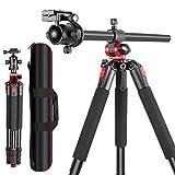 Neewer Kamerastativ mit 360 Grad drehbarer Mittelsäule und Kugelkopf Schnellwechsel Platte - Tragbare Magnesium Aluminium Stative für DSLR-Kameras Video Camcorder