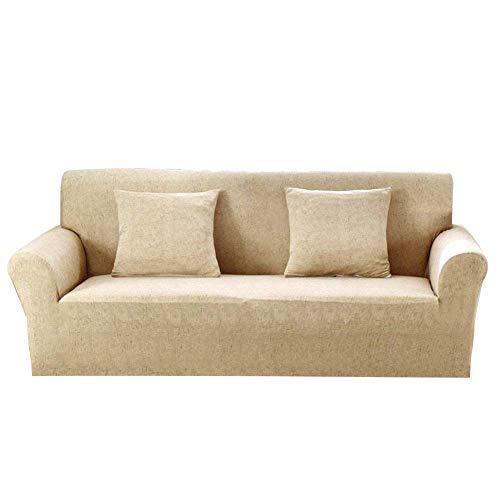 Monba, copridivano in lino, 1,2,3,4posti, fodera elastica in poliestere per divano, lavabile, poliestere, khaki, 4 seater:230-300cm