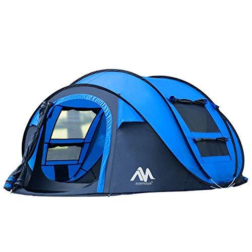 AYAMAYA Camping Zelt 3-4 Personen Pop up Zelte, Outdoor Wurfzelt [2 Türen] Automatische Große Familie Camping Zelt Shelter mit Tragetasche für Sport Backpacking Picknick Wandern Reisen Strand (Blau)