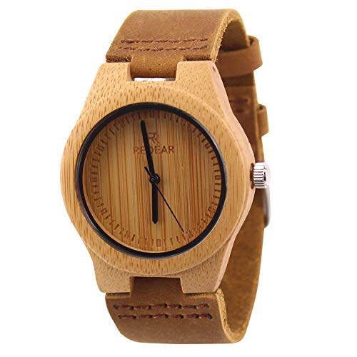 ACMEDE Damen Holz Armbanduhr Bambus Quarz mit Lederarmband Braun