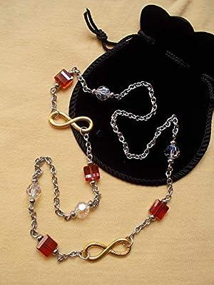 Collier symbole Infini cristal Swarovski rouge ou noir