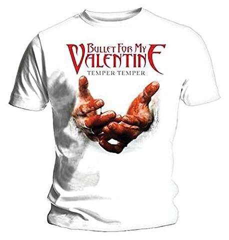 Bullet For My Valentine mens t-shirt XXL Temper blanc mains de sang