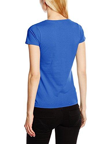 Fruit of the Loom SS045M, T-Shirt Femme Bleu - Bleu (Bleu roi)