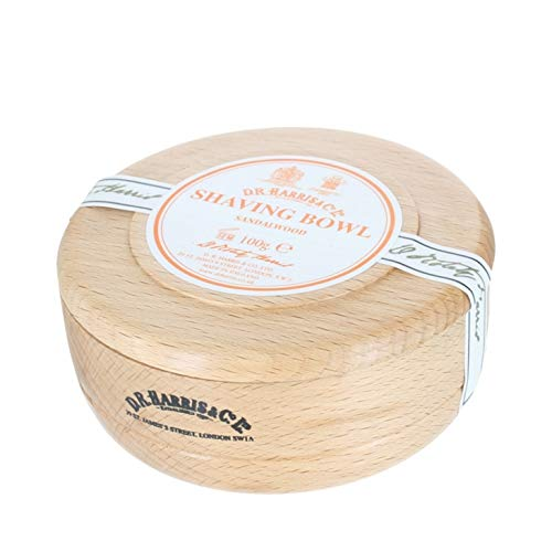 D R Harris Sandalwood Shaving Soap Bowl Dark Wood (Mahogony effect)+ Soap by D R Harris Sandalwood