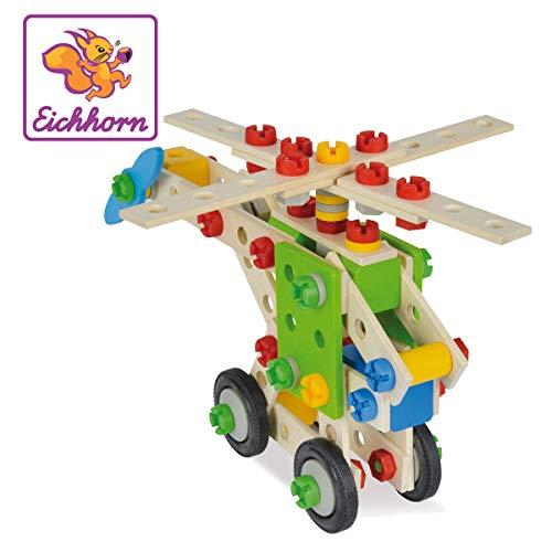 Eichhorn 100039053 - Hubschrauber 120-teilig Holz-Konstruktions-Set, 5 verschiedene Modelvarianten baubar, FSC 100{4725b6d5753970cfa7495409ffb33628ddb43745d7e648c92937cd302df9197a}