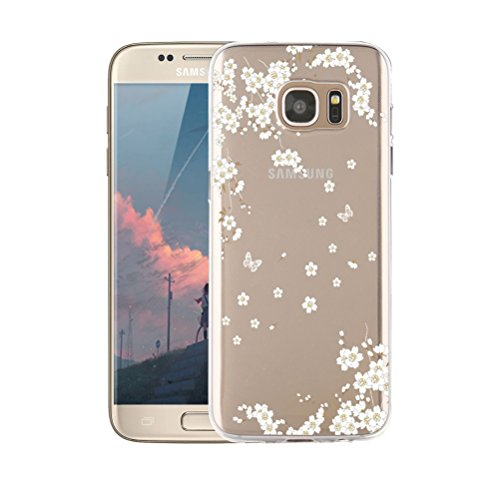 Coque iPhone Samsung Galaxy S7, blossom01 Cute Motif Premium TPU Souple Etui de Protection [absorbant les chocs] [Ultra mince] [Anti-rayures] pour iPhone Samsung Galaxy S7 - Chat Fleurs de cerisier
