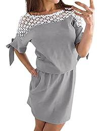 Faldas Largas Mujer Verano, Zolimx Mujeres de Verano Hueco Fuera Vestido de Encaje Vintage Femenino Corto Vestidos de Fiesta Casual…