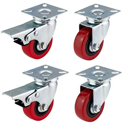 50mm Polyurethan Lenkrollen mit Bremse (rot PU)?Heavy Duty?Möbel, Gerät & Ausrüstung Räder von Bulldog Rollen?Max 150kg pro Set -