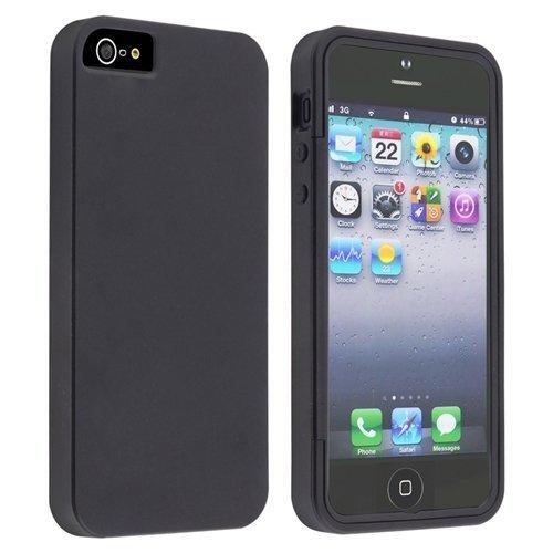 Importer520(TM) Gummi Flexible Hybrid TPU Gel Haut Abdeckung Tragetasche W/Built in Displayschutzfolie für Apple iPhone 5C Sprint, Verizon, AT & T Wireless-schwarz (At Und T Wireless)