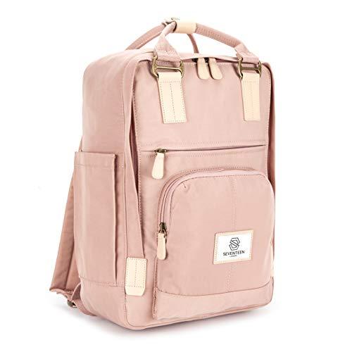 SEVENTEEN LONDON - Moderner, einfacher und Unisex \'Hackney\' Rucksack in rosa mit einem klassischen Design im Skandi-Stil - perfekt für 13-Zoll-Laptops