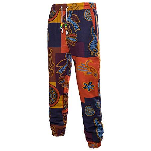 Mode Musterdruck Männer Sets Hemden Mit Hosen Ganzkörperansicht Baumwolle Leinen Material Schlank Fitness Pant 5XL