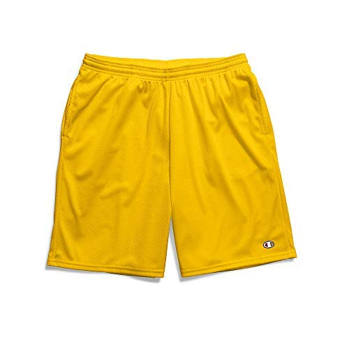Champion Men's Long Mesh Short with Pockets, Team Gold, M (Tricot Mesh Polyester 100%)