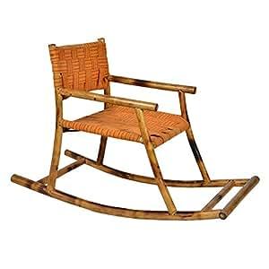 Exclusivelane Kids Rocking Bamboo Chair (Orange)