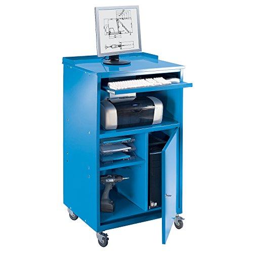 QUIPO PC Stehpult, fahrbar - HxBxT 1170 x 690 x 590 mm - lichtblau RAL 5012 - Arbeitspult...