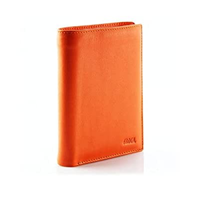Portefeuille cuir orange FANCIL N1636 portefeuille homme/femme, classique et moderne à la fois