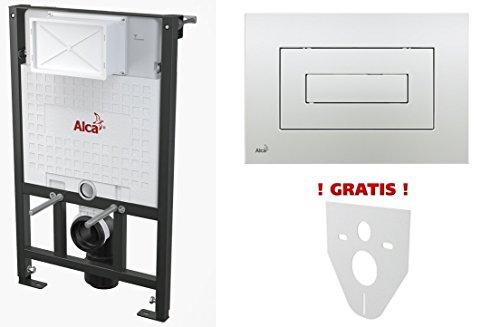 WC Vorwandelement für Trockenbau 85 cm inklusive Betätigungsplatte Chrom Glänzend Typ Cube Unterputzspülkasten Spülkasten Wand WC hängend Schallschutz