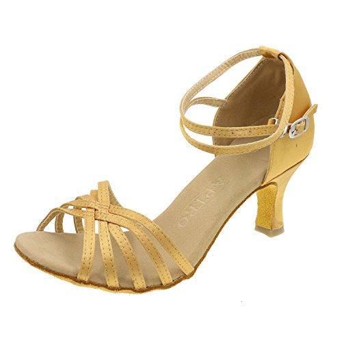 APTRO Chaussures latines en Satin de la Salle de Danse Femme Champagne 35