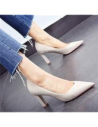 HOESCZS Professional Shoes 2019 Spring Nuevo Charol Acentuado Grueso con Tacones Altos Boca Baja Vino Salvaje