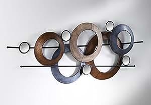 moderne wanddeko aus metall mit spiegelelementen 105x40 cm. Black Bedroom Furniture Sets. Home Design Ideas