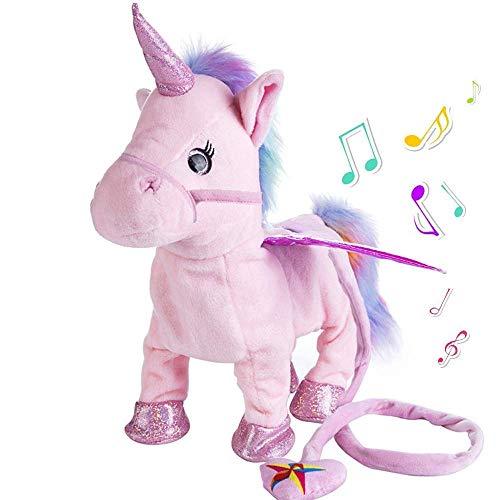 SYCASE Einhorn Plüschtiere Singen Gehen Elektronische Pet Pegasus Roboter Pferde Stofftier Musical Pony Stofftier Geschenk für Baby Kleinkinder Kinder Batteriebetriebene (Rosa)